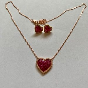 Ruby and Gold Heart Necklace Earrings